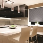 cellular shade cordless blackout in kitchen_layered